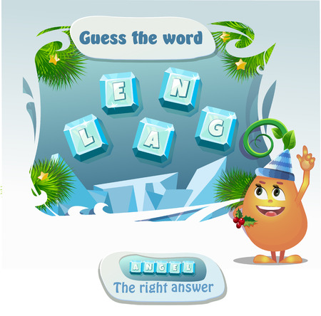 guess: Visual Game for children. Task: guess the word. Right answer- Angel