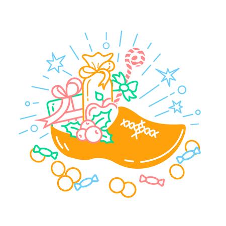 Illustratie van de schoen met giften voor de vakantie van snoep in een lineaire stijl