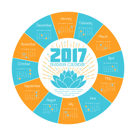 vedas: calendar ekadashi for 2017 in a linear style in the form of a lotus flower