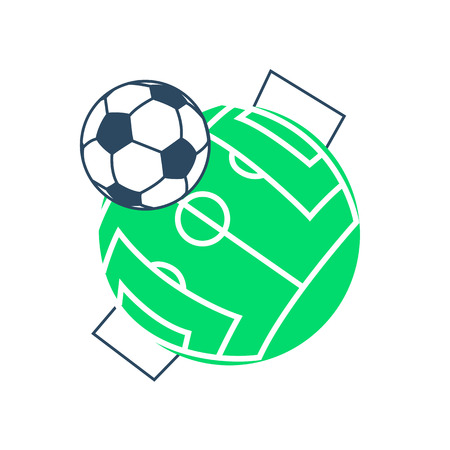 Football soccer ball icon. Long shadow flat design. Vector illustration.