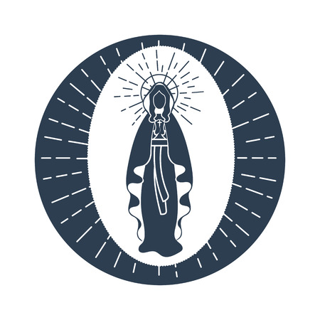 Greeting card. Holiday - Immaculate Conception of the Virgin Mary. Icon in the linear style Vettoriali