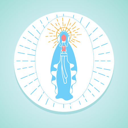 Greeting card. Holiday - Immaculate Conception of the Virgin Mary. Icon in the linear style Ilustração Vetorial