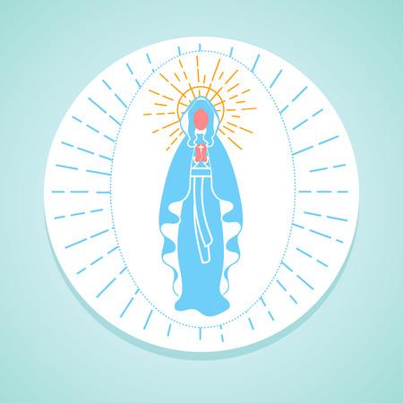 Wenskaart. Holiday - Onbevlekte Ontvangenis van de Maagd Maria. Icoon in de lineaire stijl Vector Illustratie