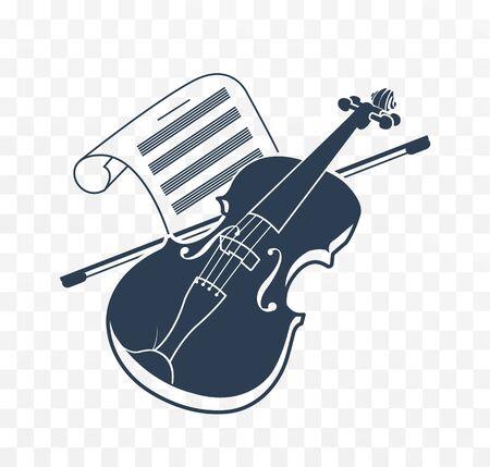 Violin  icon and music books