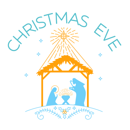 aureole: Vector illustration of happy Christmas Eve  on white background.  Happy Christmas Eve for greeting card template Illustration