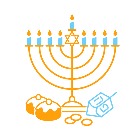 Vector illustration of happy Hanukkah  on white background. Judaism candelabrum symbol. Happy Hanukkah for greeting card template