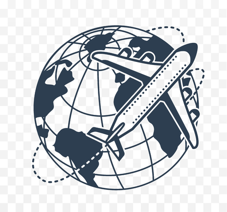 Icon silhouette of an airplane on the background earth