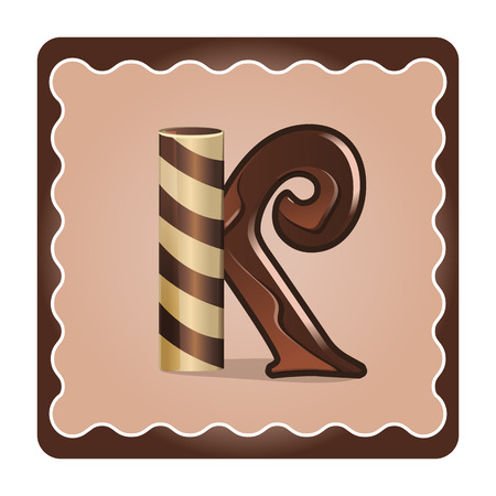Cards for children for learning the alphabet. Letter k as chocolate, in the form of candies and cakes . Vector Illustration