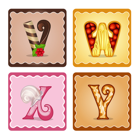 x games: Cards for children for learning the alphabet. Letters  v,w,x,y as chocolate, in the form of candies and cakes . Vector Illustration Illustration
