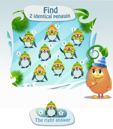 identical: Visual Game for children. Task: Find 2 identical penguin