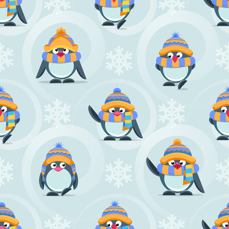 Christmas and New Year vector seamless pattern with cute penguins, gift boxes and snowflakes for web and mobile apps design Illustration
