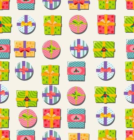 Seamless ornament with bright gift boxes in flat style. For web and mobile apps design