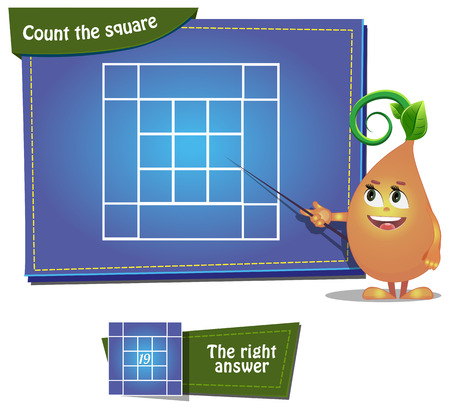 Visual Game for children. Task: Count the squares Vectores