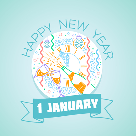 january 1: Calendar for each day on January 1. Greeting card. Holiday - happy New Year. Icon in the linear style Illustration