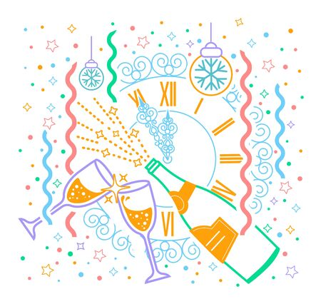 january 1: Greeting card January 1. Holiday - happy New Year. Icon in the linear style