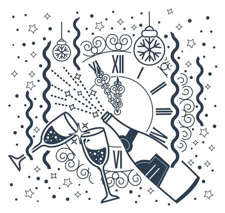 january 1: Greeting card January 1. Holiday - happy New Year. Icon in the linear style. black and white illustration Illustration