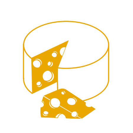 cheddar: Icon Swiss Cheese in the linear style