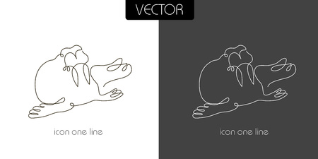 one animal: seal, walrus icon on white and black background one line, sign, symbol
