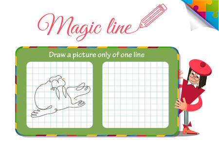 Visual Game for children. Coloring book education. Task: Draw a picture only of one line seal