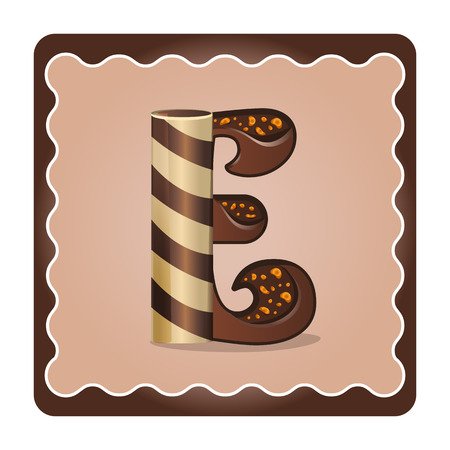 Cards for children for learning the alphabet. Letter e as chocolate, in the form of candies and cakes . Vector Illustration Illustration