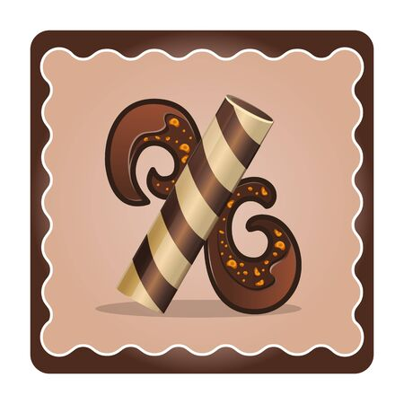 Cards for children for learning the alphabet. Letter x as chocolate, in the form of candies and cakes . Vector Illustration Illustration