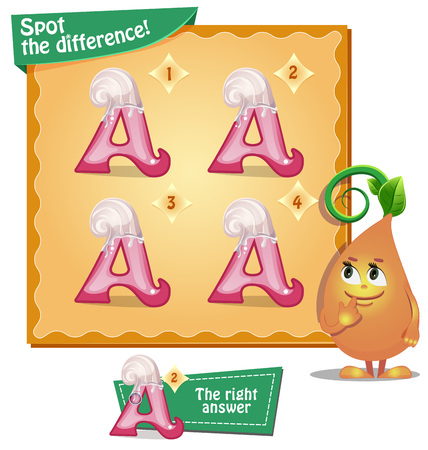 spot the difference: Visual Game for children. Task: Spot the difference letters a