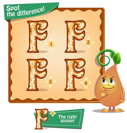Visueel spel voor kinderen. Taak: Zoek de verschillen letters f Stock Illustratie