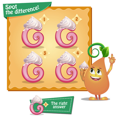 g spot: Visual Game for children. Task: Spot the difference letters g