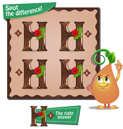spot the difference: Visual Game for children. Task: Spot the difference letters h Illustration
