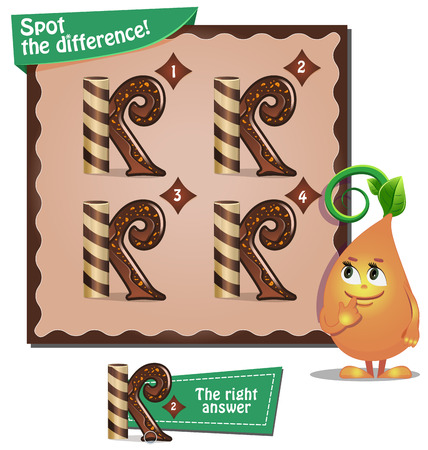 visual: Visual Game for children. Task: Spot the difference letters k Illustration