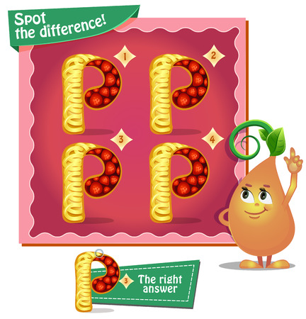 spot the difference: Visual Game for children. Task: Spot the difference letters p Illustration