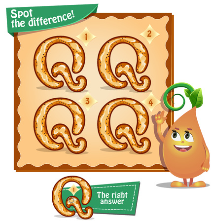 identical: Visual Game for children. Task: Spot the difference letters q Illustration