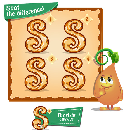 spot the difference: Visual Game for children. Task: Spot the difference letters s