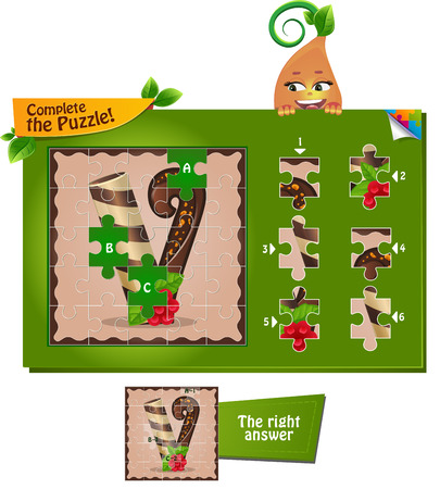visual game for children and adults. Task complete the puzzle! Letters of the alphabet