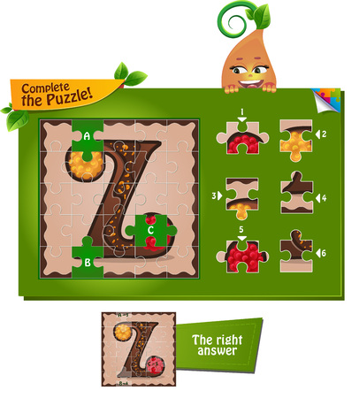 guess: visual game for children and adults. Task complete the puzzle! Letters of the alphabet