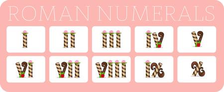 Set van Romeinse cijfers. Vector illustratie. Een set van cijfers voor het onderwijs kinderen