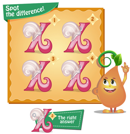 spot the difference: Visual Game for children. Task: Spot the difference letters x
