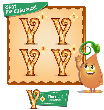 spot the difference: Visual Game for children. Task: Spot the difference letters y