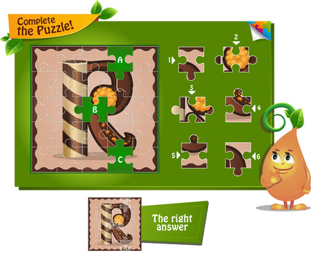 educational material: visual game for children and adults. Task complete the puzzle! Letters of the alphabet