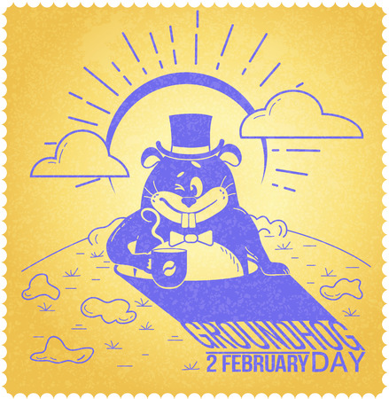 Greeting card. Holiday - happy groundhog day. Icon in the linear style. Retro Illustration