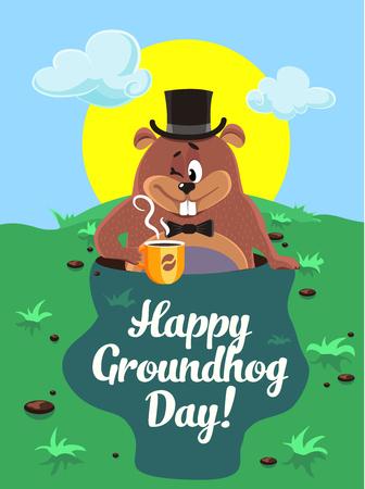 Greeting card February 2.   Happy groundhog day illustration. Vector marmot