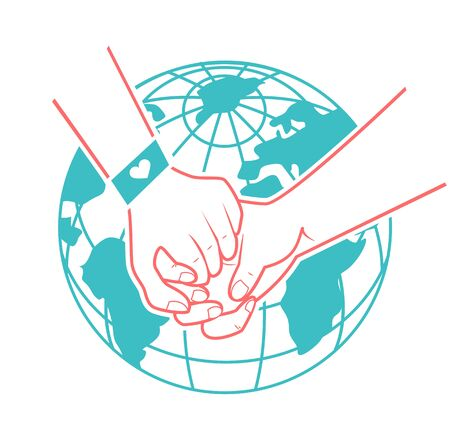 helping hands, support, rescue, aid to the background of the world. Icon in a linear style