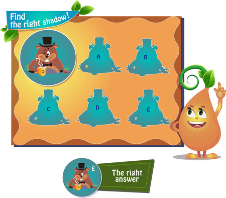 find: visual game for children and adults. Task the find right shadow woodchuck