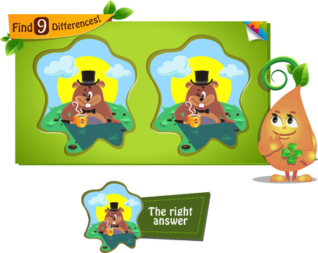 iq: visual game for children and adults. Task to find 9 differences Groundhog day Illustration