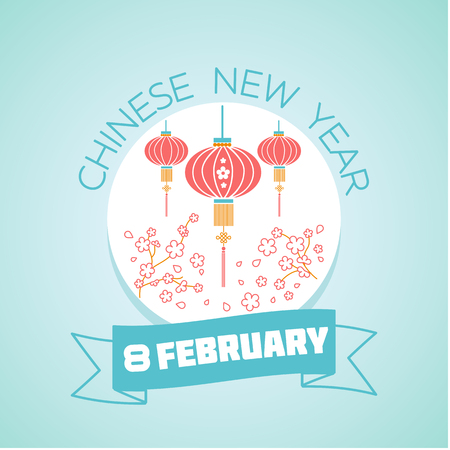Calendar for each day on February 8. Greeting card. Holiday - chinese new year. Icon in the linear style
