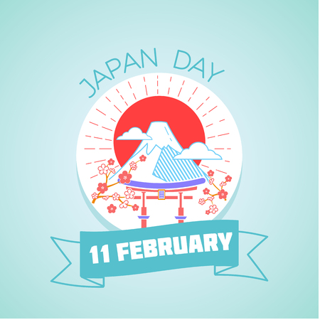 enzo: Calendar for each day on February 11. Greeting card. Holiday - Japan Day. Icon in the linear style