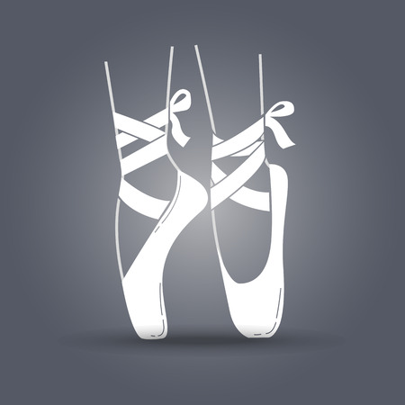 pointes: Icon ballerinas feet on pointes in a linear style. black and white illustration Illustration