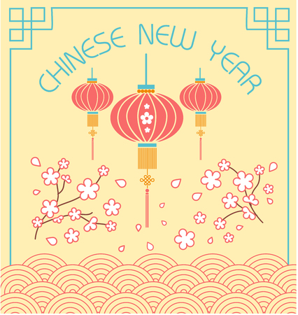 Greeting card. Holiday - chinese new year. Icon in the linear style