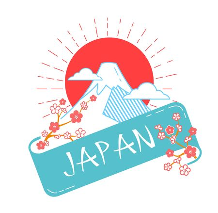 Greeting card. Holiday - Japan Day. Icon in the linear style