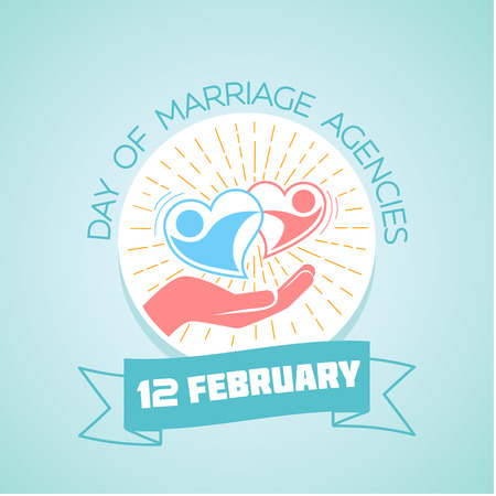 February 12. Greeting card. Holiday - Day of Marriage Agencies. Icon in the linear style Illustration